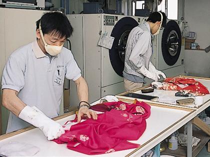 着物の丸洗い|成人式後の着物のシミ抜き