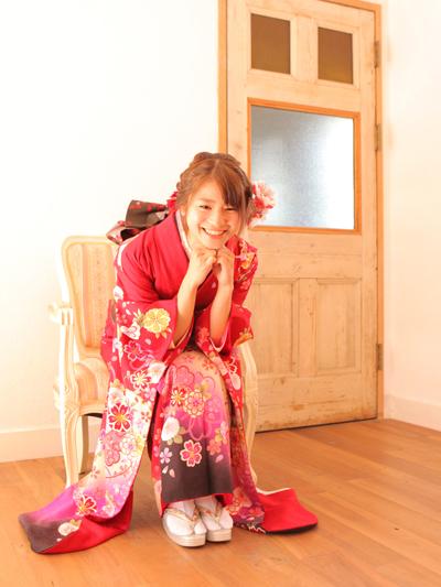 神戸で赤の振袖